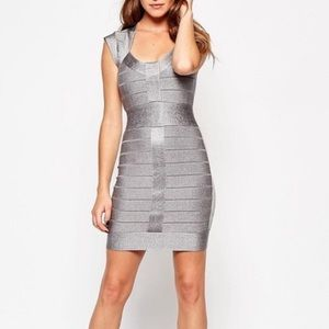 French connection silver bandage mini dress